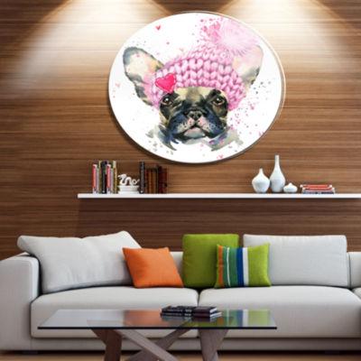Designart French Bulldog with Pink Hat Disc Contemporary Animal Metal Circle Wall Decor