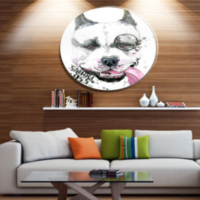 Designart Funny Dog with Single Lens Disc Contemporary Animal Metal Circle Wall Decor