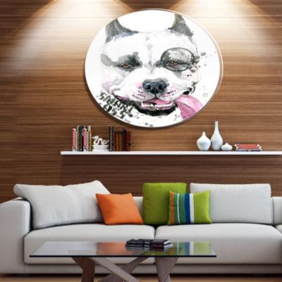 Designart Funny Dog with Single Lens Disc Contemporary Animal Metal Circle Wall Decor