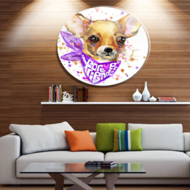 Designart Cute Puppy Dog with Neck Shawl Disc Contemporary Animal Metal Circle Wall Decor