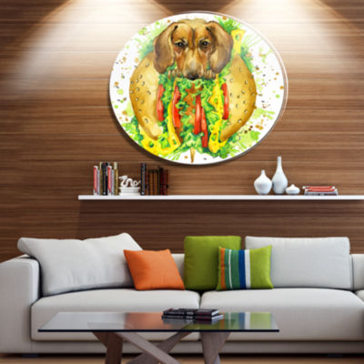 Designart Funny Dog inside Sandwich Disc Contemporary Animal Metal Circle Wall Decor