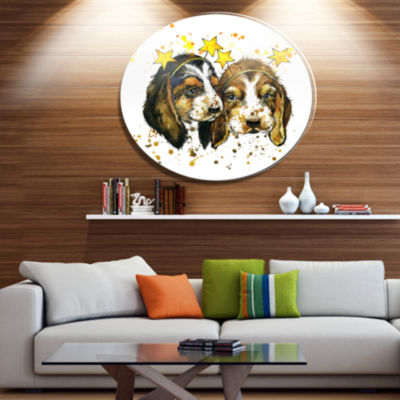 Designart Funny Puppy Dogs Watercolor Disc Contemporary Animal Metal Circle Wall Decor