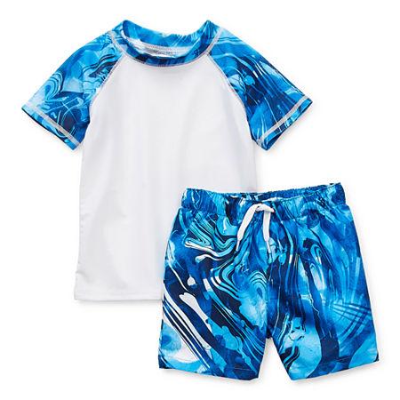 Peyton & Parker Baby Boys Waves Rash Guard Set, 3-6 Months , Blue