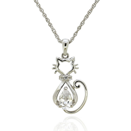 Womens Lab Created White Sapphire Sterling Silver Pendant Necklace