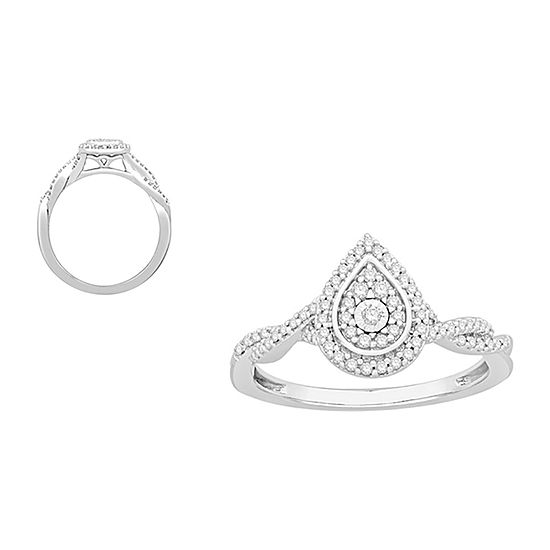 Womens 1/5 CT. T.W. Genuine White Diamond 10K White Gold Promise Ring
