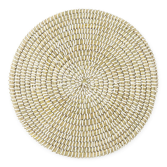 Outdoor Oasis Round White Seagrass Placemat