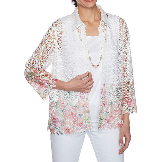 Alfred Dunner Springtime In Paris Womens 3/4 Sleeve Layered Top