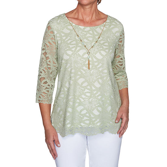 Alfred Dunner Springtime In Paris Womens Round Neck 3/4 Sleeve T-Shirt