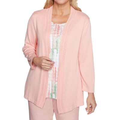 Alfred Dunner Springtime In Paris Womens Round Neck Long Sleeve Layered Sweaters