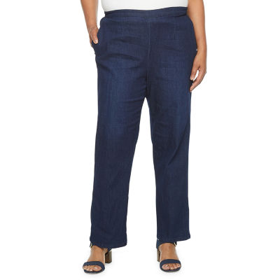 Alfred Dunner-Plus Denim Friendly Womens Straight Pull-On Pants