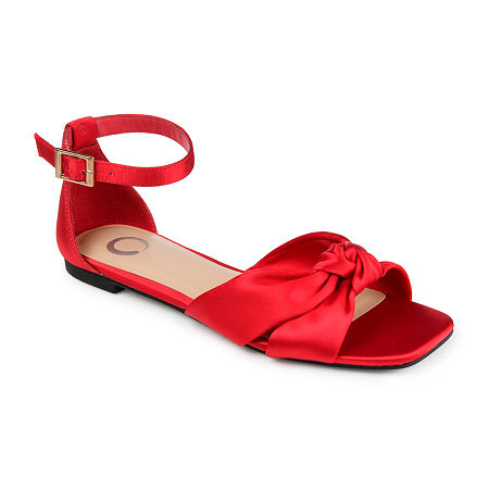 Retro Vintage Flats and Low Heel Shoes Journee Collection Womens Safina Flat Sandals 9 12 Medium Red $41.25 AT vintagedancer.com