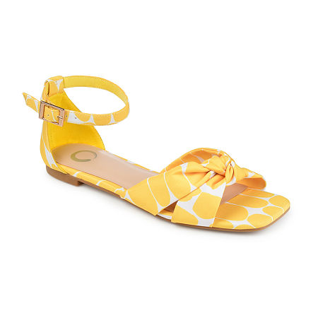 Retro Vintage Flats and Low Heel Shoes Journee Collection Womens Safina Flat Sandals 7 12 Medium Yellow $41.25 AT vintagedancer.com