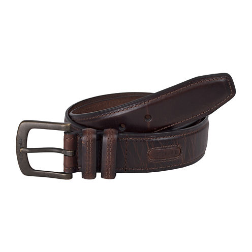 Columbia® Brown Leather Belt w/Contrast Stitching