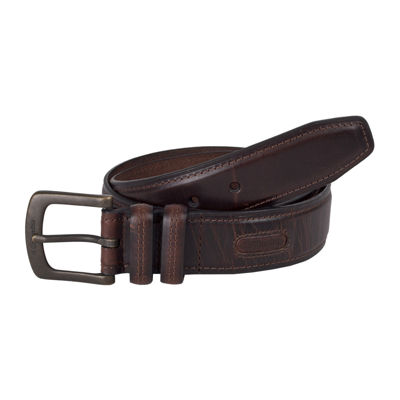 Columbia® Brown Leather Men's Belt w/Contrast Stitching
