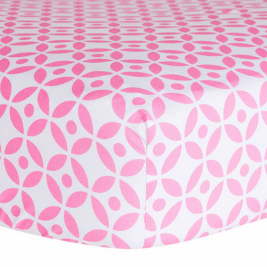 Trend Lab Pink Lily Lattice Fitted Crib Sheet