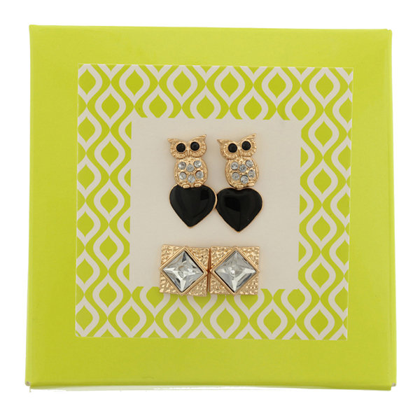 Capelli of New York Gold-Tone Owl Heart and Stone 3-pr. Stud Earring Set