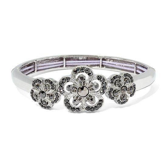 Liz Claiborne® Two-Part Stretch Gray and Silver-Tone Bangle Bracelet