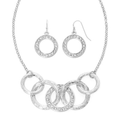 Liz Claiborne® Silver-Tone Circle Necklace and Earring Set