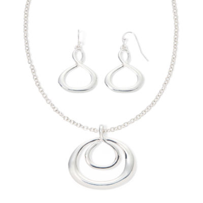 Liz Claiborne® Silver-Tone Infinity Necklace and Earring Set
