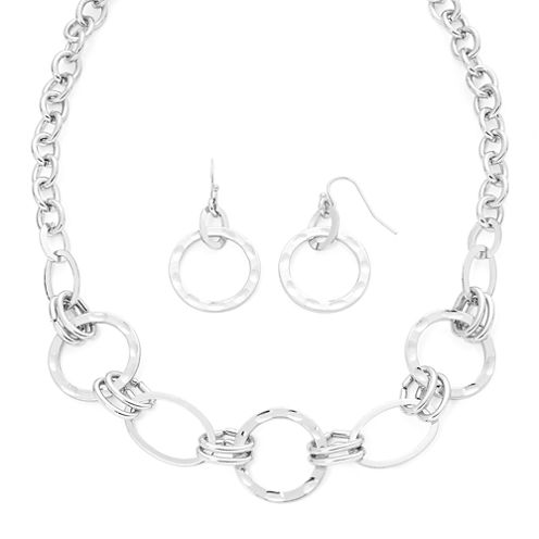 Liz Claiborne® Hammered Silver Necklace & Earrings Set