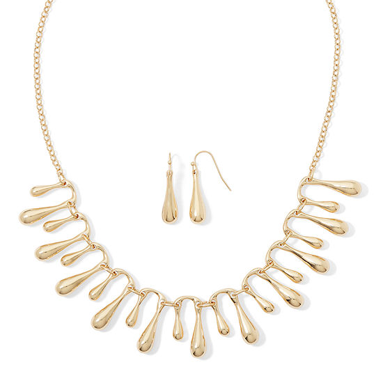 Liz Claiborne Gold Tone Fringe Collar Necklace And Earring Set