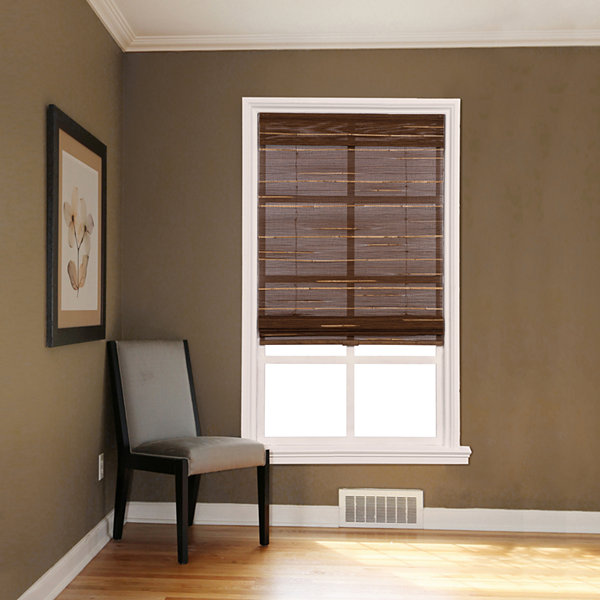 Custom Cordless Textured Bamboo and Reed Roman Shade