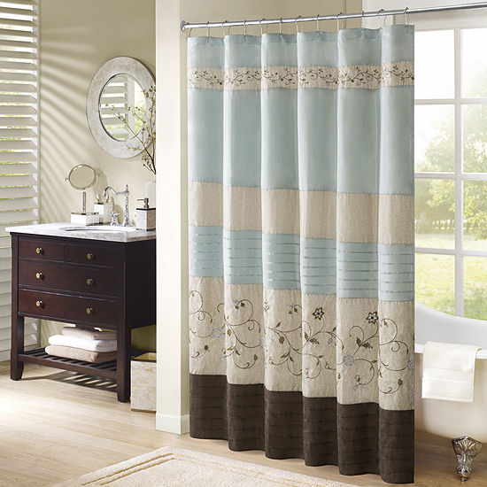 Madison Park Davenport Embroidered Shower Curtain, Color
