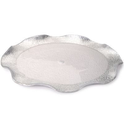 Set of 4 Wavy-Style Plates with Silver Design