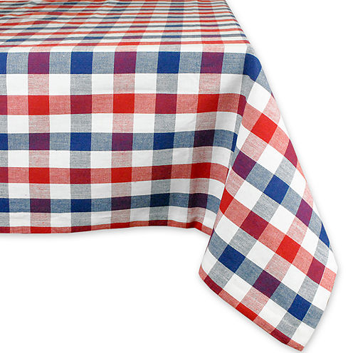Red & Blue Check Cotton Tablecloth