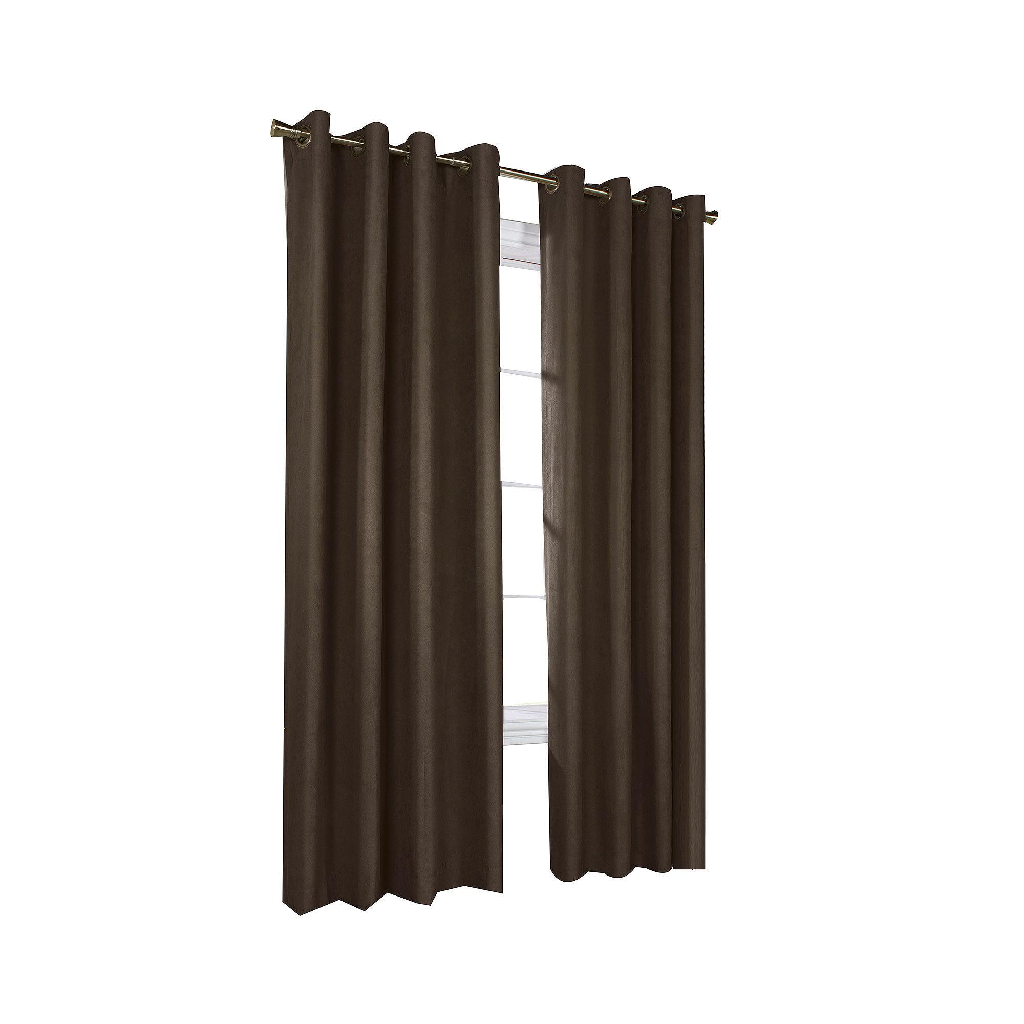 Navar Faux-Suede Blackout Grommet-Top Window Panel