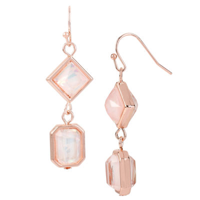 Worthington® Pink Stone Rose-Tone Earrings
