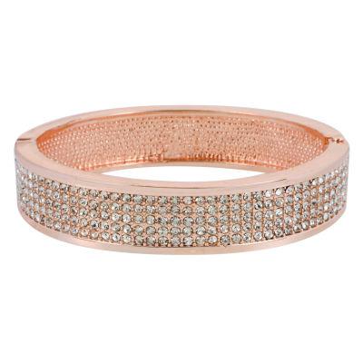 Worthington® Rose-Tone Hinged Pavé Bangle Bracelet