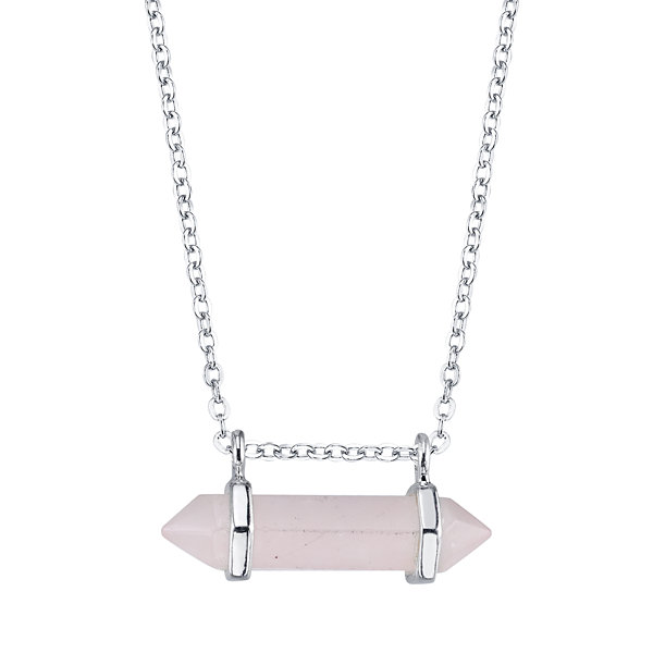 Bridge Jewelry Womens Pink Silver Over Brass Pendant Necklace