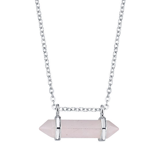 Pink Agate 18 Inch Cable Pendant Necklace