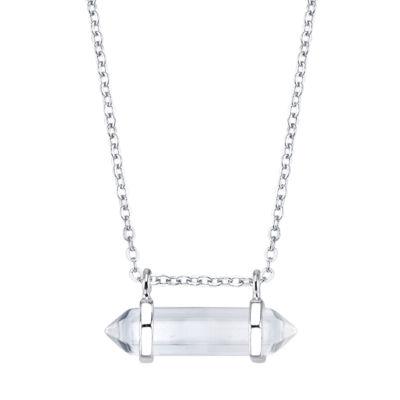 Bridge Jewelry Womens Clear Pendant Necklace