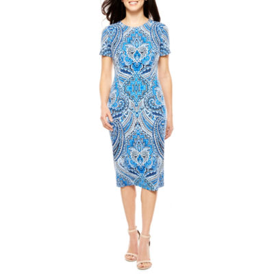 London Style Short Sleeve Sheath Dress