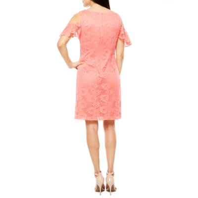 Studio 1 Short Sleeve Cold Shoulder Lace Sheath Dress