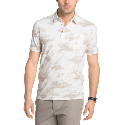 Van Heusen Short Sleeve White Washed Printed Polo Shirt