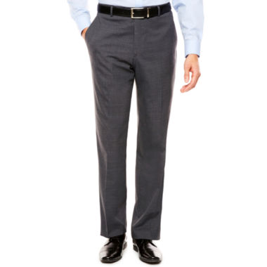 Stafford Travel Stretch Gray Check Suit Pants-Classic Fit