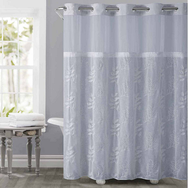 Hookless Palm Leaves Shower Curtain with PEVA Liner