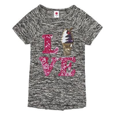 Total Girl Short Sleeve Round Neck T-Shirt-Preschool Girls