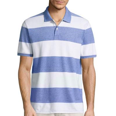 St. John's Bay Short Sleeve Stripe Pique Polo Shirt