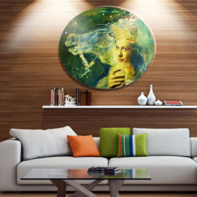 Designart Thoroughbred Horse and Woman Ultra Glossy Animal Oversized Metal Circle Wall Art