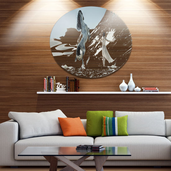 Designart Huge Horse and Lady on Desert Ultra Glossy Animal Oversized Metal Circle Wall Art