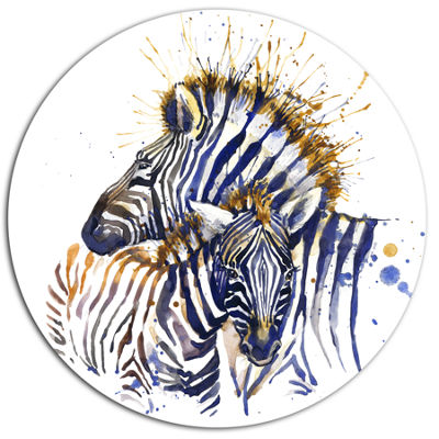 Designart Zebra Watercolor Rightwards Ultra GlossyAnimal Oversized Metal Circle Wall Art