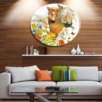Designart Horse and Foal with Flowers Ultra GlossyAnimal Oversized Metal Circle Wall Art