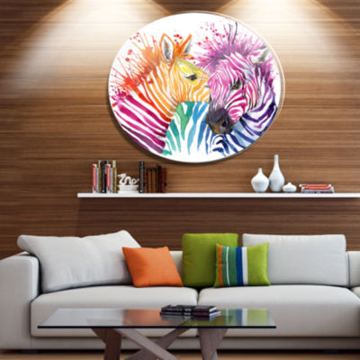Designart Funny Zebra Graphical Watercolor Ultra Glossy Animal Oversized Metal Circle Wall Art