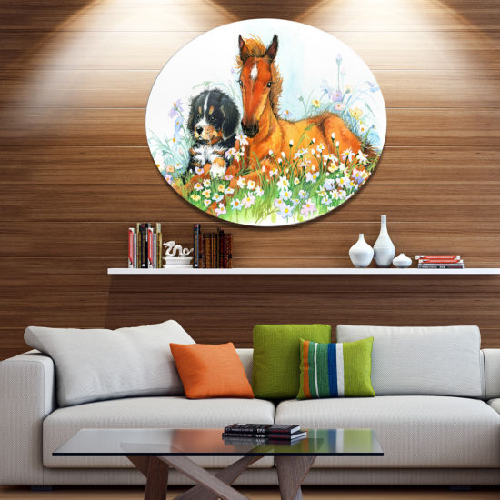 Designart Relaxing Brown Cute Horse Ultra Glossy Animal Oversized Metal Circle Wall Art