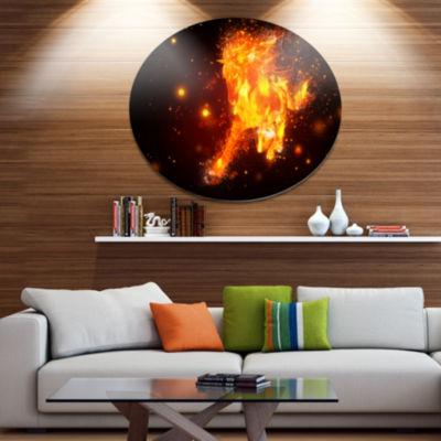 Designart Abstract Running Fire Horse Ultra GlossyAnimal Oversized Metal Circle Wall Art