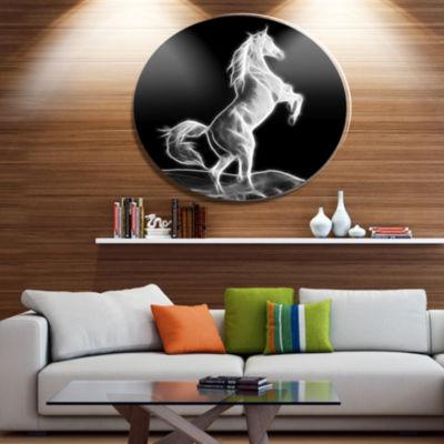 Designart Large White Horse Sculpture Ultra GlossyAnimal Oversized Metal Circle Wall Art